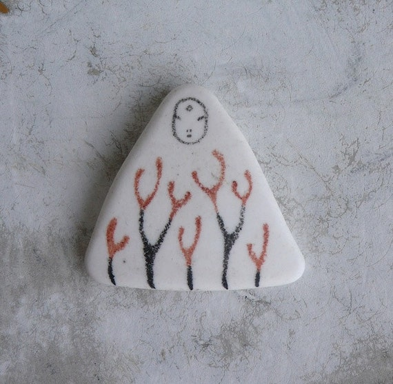White Beach Pottery Kanzeon Bodhisattva (Kuan Yin, The Bodhisattva of Compassion) with Plants