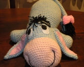 PDF - Eeyore the Winnie the Pooh's donkey friend - 12 inches amigurumi doll crochet pattern. Available in English or Spanish language.