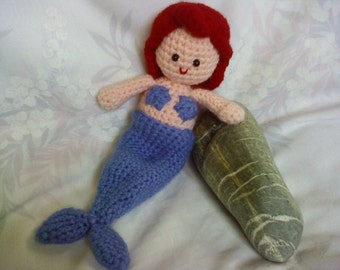 PDF - INSTANT DOWNLOAD The Little Mermaid becomes a girl - 7.2 inches amigurumi doll crochet pattern