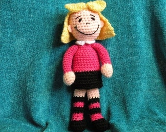 PDF - INSTANT DOWNLOAD - Emily Elizabeth from Clifford - 11 inches amigurumi doll crochet pattern in English language.
