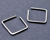 Earrings. Little Square Hoops. Modern Contemporary Simple Sleek Elegant Design. Sterling Silver Jewelry.
