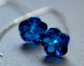 Earrings. Modern Contemporary Simple Sleek Elegant Design. Sterling Silver Jewelry. Handmade by Epheriell on Etsy. Blue Flowers.