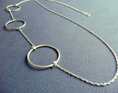 Long Circles Sterling Silver Necklace. Everyday statement piece. Simple. Modern. Contemporary. Handmade.
