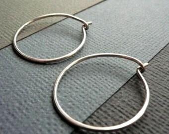 Small Sterling Silver Hoop Earrings. Modern Contemporary Simple Sleek Elegant Design.