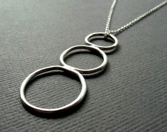 Sterling Silver Necklace. Descending Hoops. Hoop. Three. Sleek. Simple. Modern. Contemporary. 18 inch. Handmade.