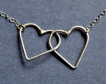Sterling Silver Entwined Hearts Necklace. Valentines. Love. Couple. Sweethearts. Mother. Daughter. Family.