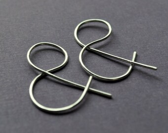 Earrings. Punctuation Collection. Ampersand. AND. Spelling, Word, Geek Style Modern Simple Sterling Silver. By Epheriell on Etsy.