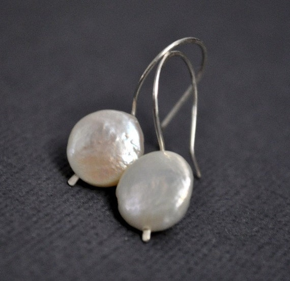 White Coin Pearl Earrings. Simple. Understated. Handmade. French Hook. Modern. Bridal. Wedding. Simple. Jewellery. Jewelry.
