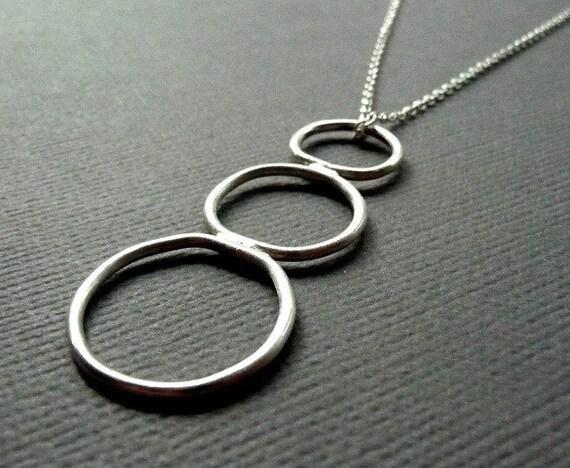 Sterling Silver Necklace. Descending Hoops. Hoop. Three. Sleek. Simple. Modern. Contemporary. 18 inch. Handmade.