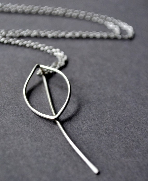 Long Leaf Necklace. Simple, sleek, handmade from recycled sterling silver. By Epheriell on Etsy.