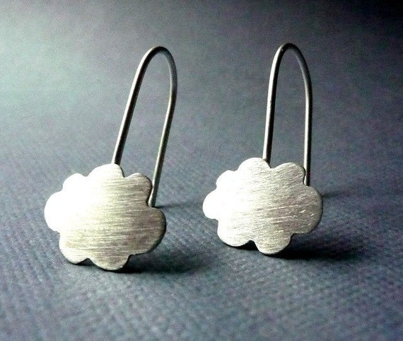 Earrings. Modern Contemporary Simple Sleek Elegant Design. Sterling Silver Jewelry. Handmade by Epheriell on Etsy. Cloud.