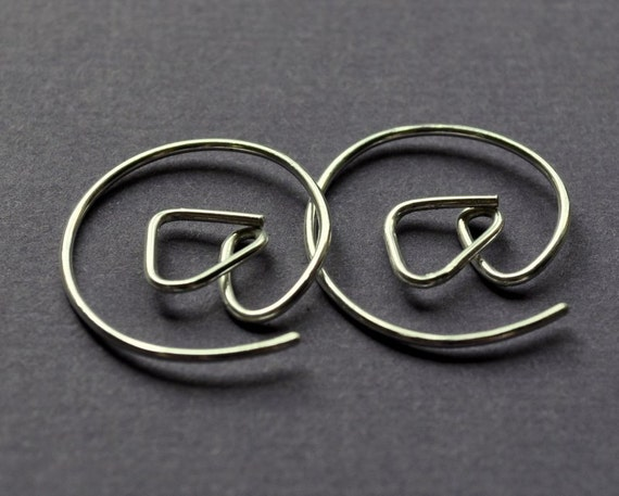 Earrings. Punctuation Collection. At Symbol. Twitter. Geek Style Modern Simple Sterling Silver. By Epheriell on Etsy.
