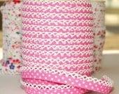 Double fold picot crochet edge bias tape, crochet bias tape, lace bias tape, picot edge bias tape, pink bias tape, polka dot bias tape