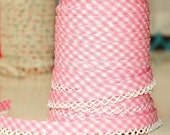Bias Tape -  Baby Pink Gingham Cotton and Lace Double Fold