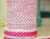 Double fold crochet edge bias tape, crochet bias tape, lace bias tape, fuchsia bias tape, polka dot bias tape