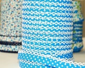 Bias Tape Double Fold Turquoise Polka Dot Cotton and Crochet Lace