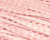 Soft pink mini pom pom trim -- 1 metre