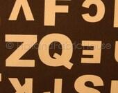 Alphabet Soup in Chocolate Japanese Fabric -- 0.5 yard