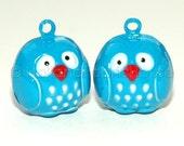 Kawaii Jingle Bell Charms -- Owls in Blue: Set of 2