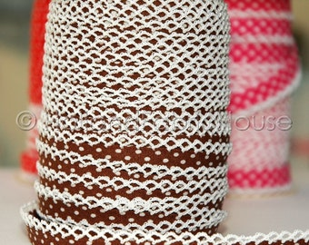 Bias Tape  Double Fold Chocolate Brown Polka Dot Crochet Lace