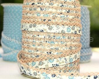 Bias Tape - Petite Flowers in Tan Double Fold