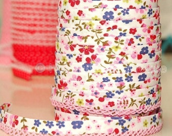 Bias Tape - White Floral Cotton and Pink Lace Double Fold