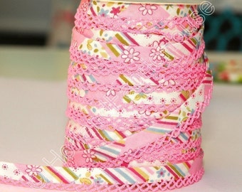Bias Tape - Soft Pink Cotton and Lace Double Fold