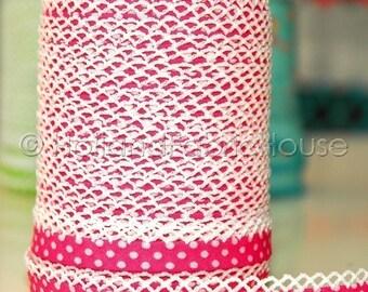 Double fold crochet edge bias tape, crochet bias tape, lace bias tape, fuchsia bias tape, polka dot bias tape