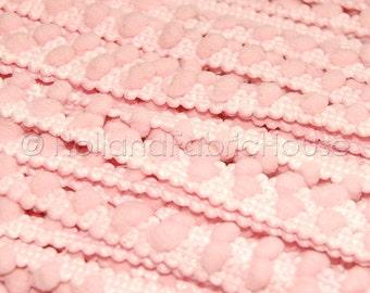 Soft pink mini pom pom trim -- 1 metre