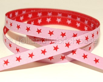 FarbenMix - Stars in pink-red ribbon/sewing tape
