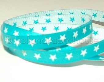FarbenMix - Stars in turquoise-white ribbon/sewing tape
