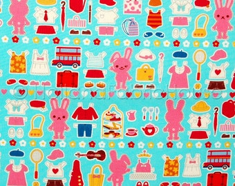 Bunny Wardrobe Japanese Fabric in turquoise -- 0.5 yard