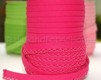 Bias Tape Fuchsia Solid Cotton and Lace - Double Fold