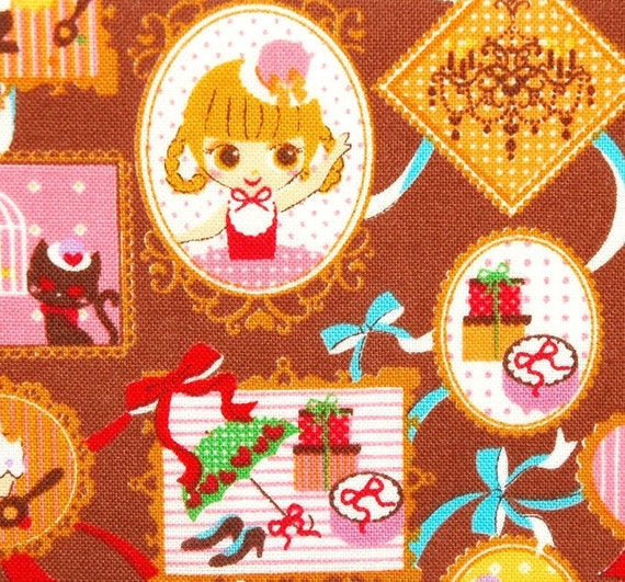Brown COSMO Japanese  Mademoiselle  Doll in Frames  fabric  -- 0.5 Yard