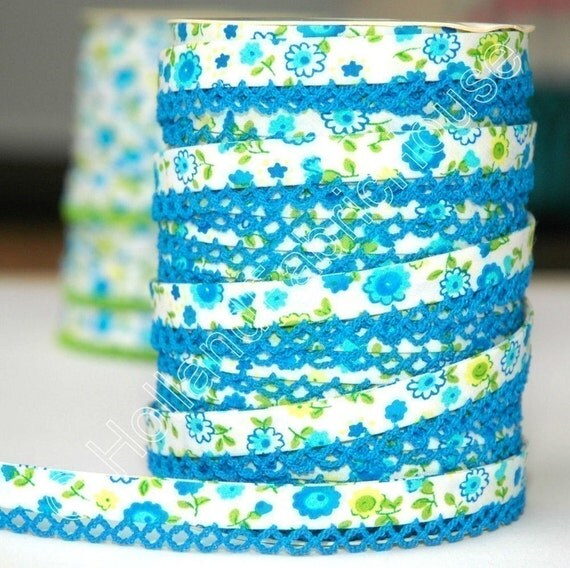 Bias Tape -  Blue Floral Cotton and Lace Double Fold