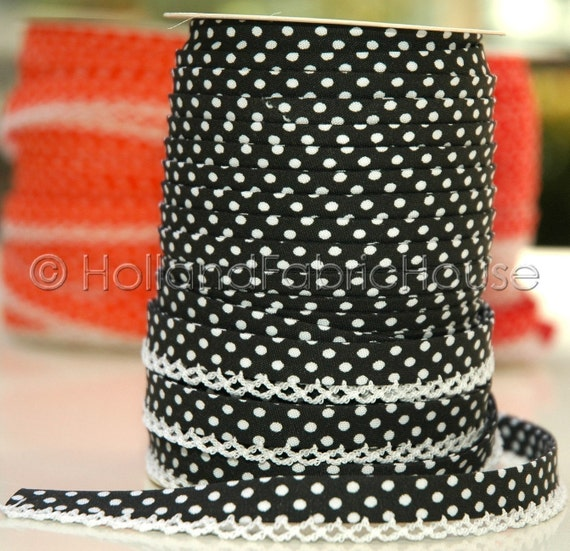 Bias Tape  Double Fold - Black Polka Dot Lace Crochet