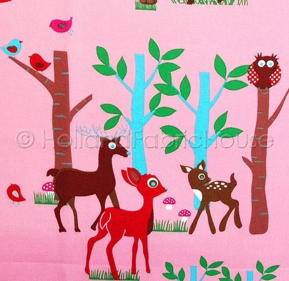 LAST PIECE Woodland Friends in pink -- Dutch design fabric by Stenzo
