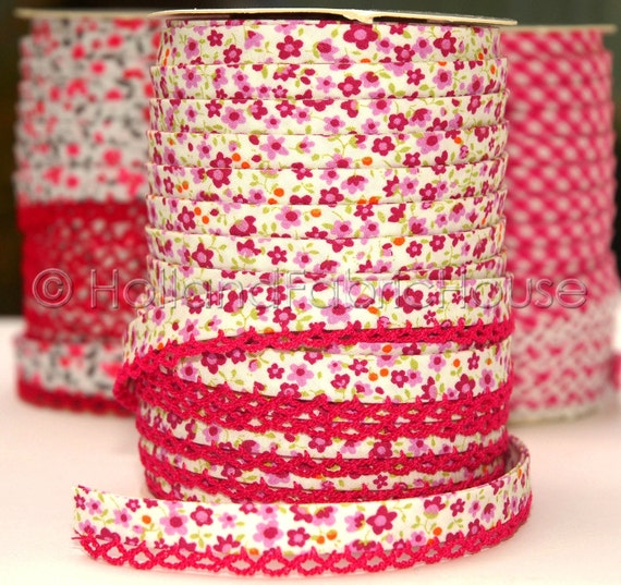 Bias Tape Double Fold Petite Flowers in Raspberry Cotton and Lace Crochet