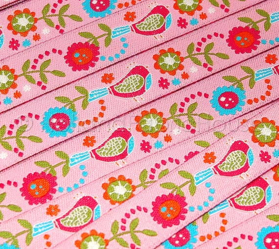 Birds and Blooms - Dutch design ribbon sewing tape -- 1 metre