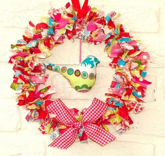 SALE Decorative Fabric Wreath with Birdie - Large