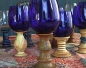 Stoneware Goblet Cobalt Blue Glass 6