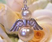 Pearl and silver Wedding Angel Charm for Bride or bridesmaids for bouquets, bracelets, garter or petticoats from The Angelpatch