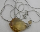 Sterling Silver Smoky Yellow Pendant on Sterling Silver 16 Inch Necklace 925 Vintage