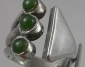 Sterling Silver Mexico 3 Green Cabachons Eagle 12 Size 7.5 Ring Vintage 925