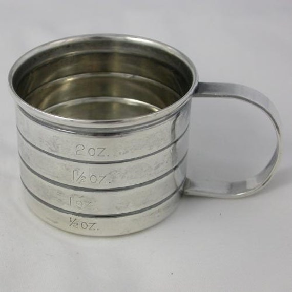 Wallace Sterling Silver Measuring Cup or Jigger With Handle Two Ounces by the Half Ounce 925 Vintage