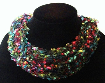 Hand Knit Scarf, Ribbon Yarn, Multi Colors, Lightweight, Variety Styles to wear, Nice
