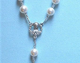Pocket Rosary, Pearl, Handcrafted