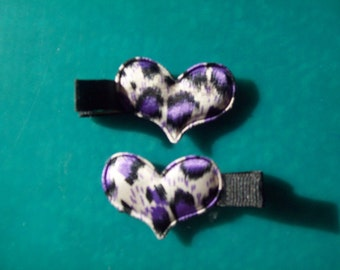 Animal Print Heart Hair Clips