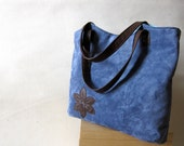 FREE SHIPPING Leather Tote Handbag Laptop Recycled Leather Applique