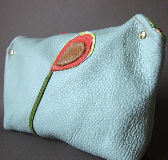 Reclaimed Leather Makeup Case Clutch in Robin's Egg Blue from Waterstone